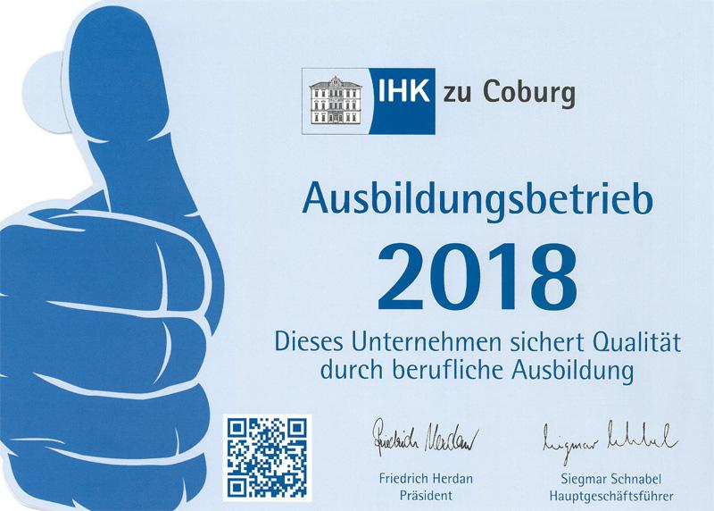 IHK Coburg - Ausbildungsbetrieb 2018